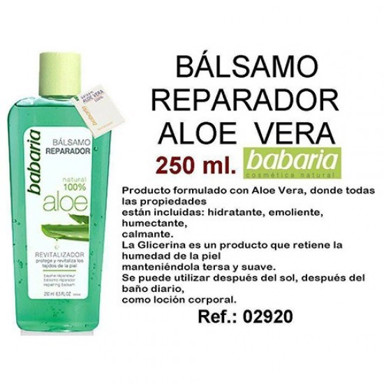 Balsamo Reparador Aloe puro 100% Babaria